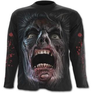 """T-shirt gothique homme à manches longues """"marche des morts"""" avec zombies et éclairs"""