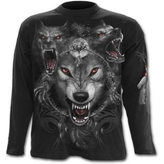 T-shirt gothique homme à manches longues à meute de loup et attrape rêve