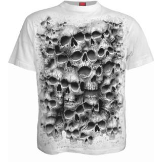 T-shirt gothique homme à mur de cranes TWISTED SKULLS - Blanc