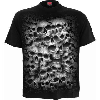 T-shirt gothique homme à mur de cranes TWISTED SKULLS - Noir