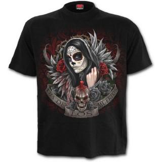 T-shirt gothique homme noir avec ange de ma mort masquée et tatouée