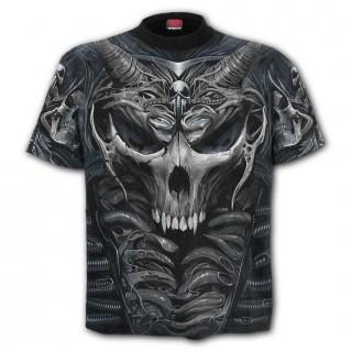 """T-shirt gothique homme """"SKULL ARMOUR"""" à crane cornu et squelette méca"""