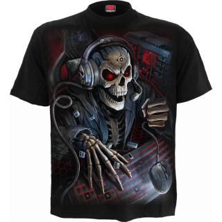 T-shirt gothique homme à squelette PC GAMER