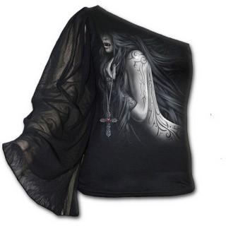 T-shirt gothique à manche voilée et épaule nue avec femme vampire et crucifix