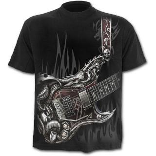 T-shirt gothique noir pour enfant  à guitare avec dragon et cranes