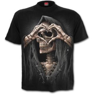 """T-shirt homme """"Amour noir"""" avec la Mort formant un coeur"""