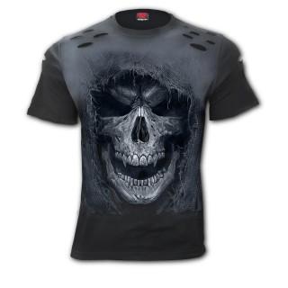 T-shirt homme aspect déchiré à crane encapuchonné