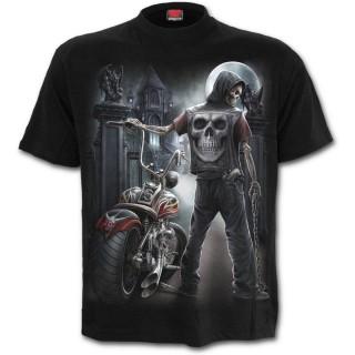 T-shirt homme avec biker squelette et moto démoniaque