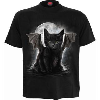 T-shirt homme avec chat noir à ailes et dents de vampire