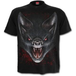 T-shirt homme avec chauves-souris vampires et lune rouge