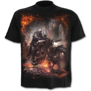 T-shirt homme avec motard en squelette et sa moto steampunk