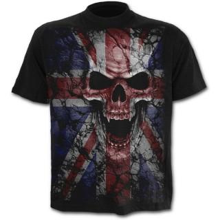 T-shirt rock homme avec tête de mort sur drapeau Union Jack