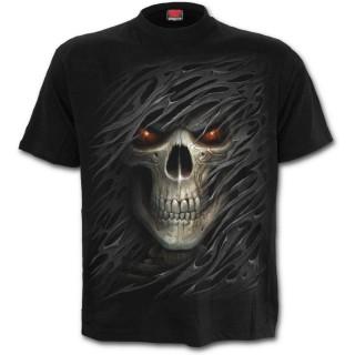 T-shirt homme avec tête de mort à voile déchiré