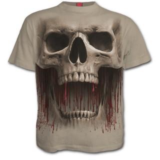 """T-shirt homme beige à crane et coulures de sang """"DEATH ROAR"""""""
