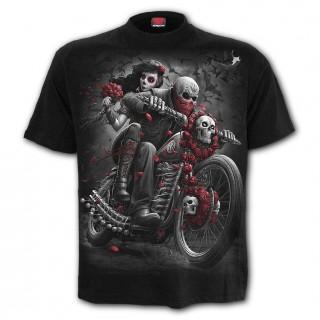 T-shirt homme biker à moto custum et crane mexicain
