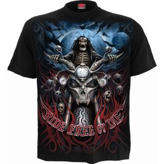 """T-shirt homme à biker squelette """"Rouler librement ou mourir"""""""