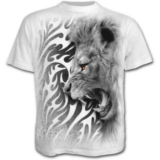 T-shirt homme blanc avec lion rugissant et motif tribal