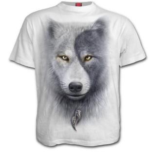 T-shirt homme blanc avec loups et attrape rêve inspiration Yin et Yang