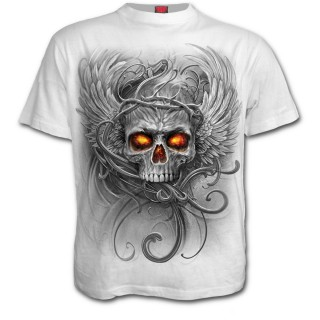T-shirt homme blanc à crane avec racine de l'enfer et ailes d'ange