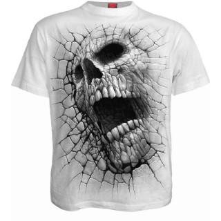T-shirt homme blanc effet craquelé à tête de mort et pentagramme
