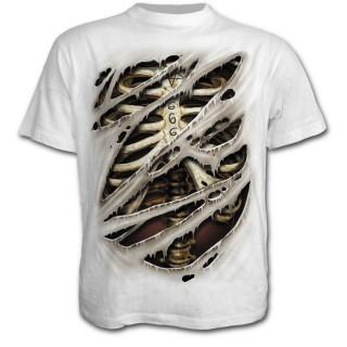 T-shirt homme blanc effet déchiré sur cage thoracique avec 666