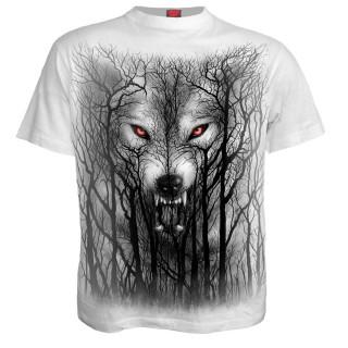 T-shirt homme blanc à loup hurlant dans les arbres et pleine lune