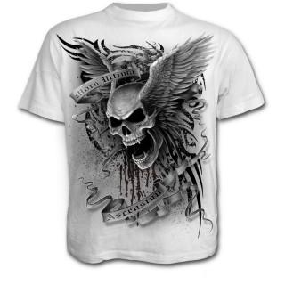 T-shirt homme blanc à tête de mort ailée