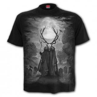 T-shirt homme à crane chamanique - noir