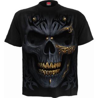 T-shirt homme crane punk tatoué à crête de balles