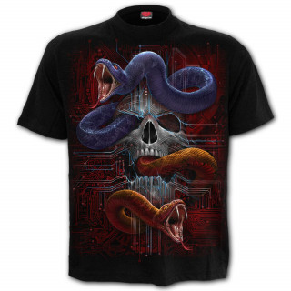 T-shirt homme cyber gothique à crane et serpents pythons