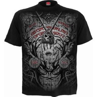 T-shirt homme à démon cornu utilisant une planche Ouija