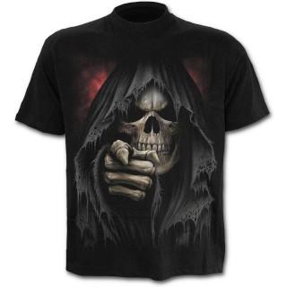 T-shirt homme doigt de la mort avec faux et sablier