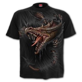 T-shirt homme à dragon déchirant le vêtement