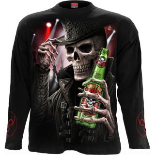 T-shirt homme goth-rock manches longues à squelette tenant une bière