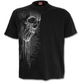 T-shirt homme goth-rock noir à crane fondu