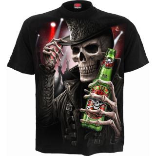 T-shirt homme goth-rock à squelette tenant une bière