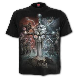 T-shirt homme gothique à bataille épique entre 2 mondes