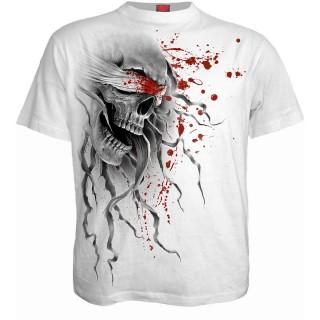 T-shirt homme gothique blanc à crane avec bâillon ensanglanté