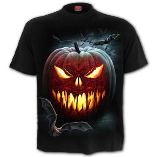 T-shirt homme gothique à citrouille de la Mort et chauves-souris