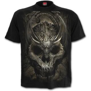 T-shirt homme gothique à crane et dragon menaçant