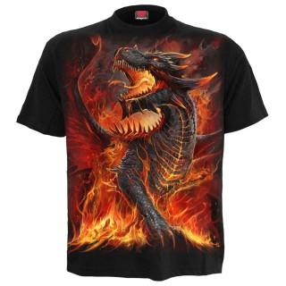 T-shirt homme gothique à Dragon débordant de lave