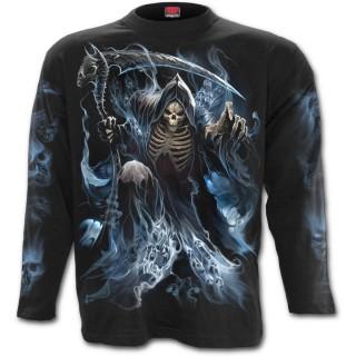 T-shirt homme gothique à manches longues avec La mort entourée d'âmes
