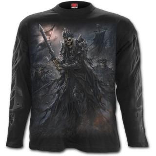 T-shirt homme gothique à manches longues avec Roi squelette et son armée