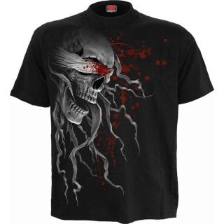 T-shirt homme gothique noir à crane avec bâillon ensanglanté