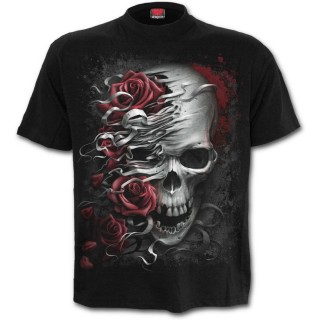 T-shirt homme gothique roses et cranes déchirés