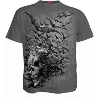 T-shirt homme gris à nuée de chauve-souris formant un crane