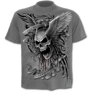 T-shirt homme gris à tête de mort ailée