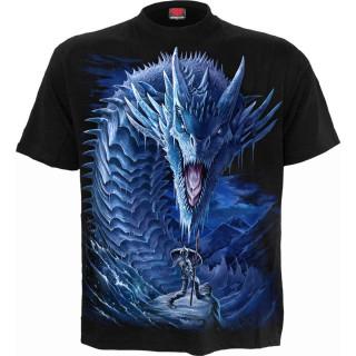 T-shirt homme à guerrière combattant un Dragon de Glace