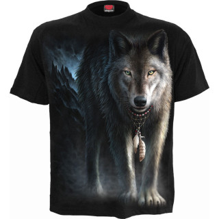 T-shirt homme à loup en forêt et attrape rêves amérindien