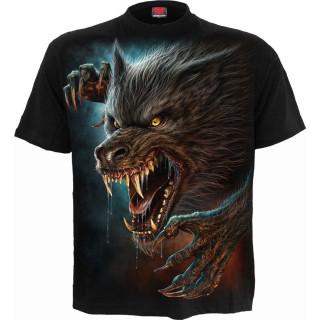 T-shirt homme à loup garou féroce hurlant à la lune